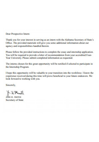 Simple Internship Recommendation Letter
