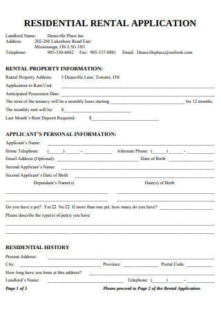 Simple Residential Rental Application