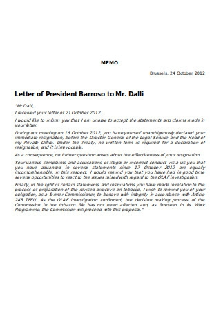 Simple Resignation Letter Memo