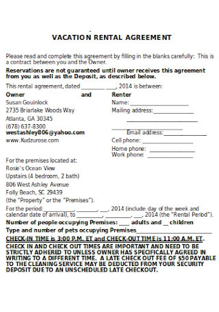 Simple Vacation Rental Agreement
