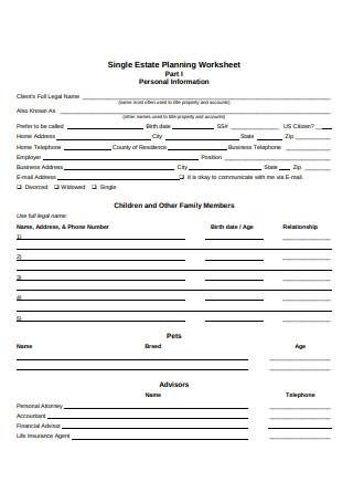Single Estate Planning Worksheet