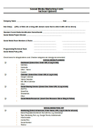Social Media Marketing Form