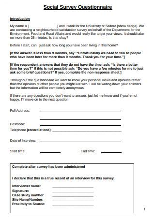 Social Survey Questionnaire