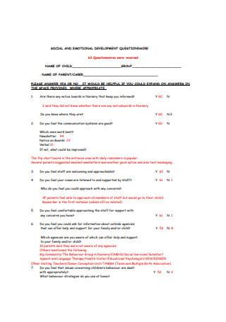 Social and Emotional Development Questionnaire