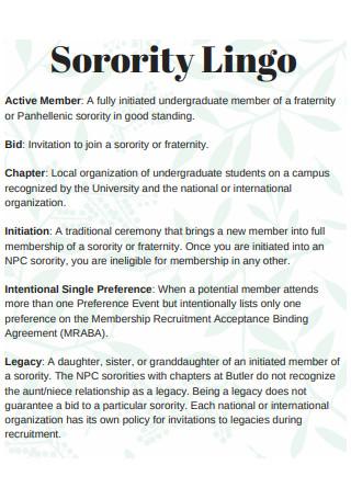 Sorority Lingo Recommendation Letter
