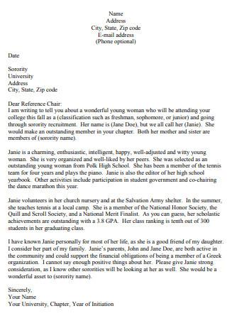 Sorority Recommendation Letter