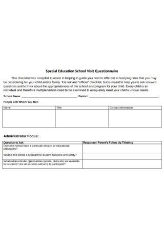 Special Education School Visit Questionnaire
