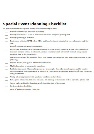 Special Event Planning Checklist