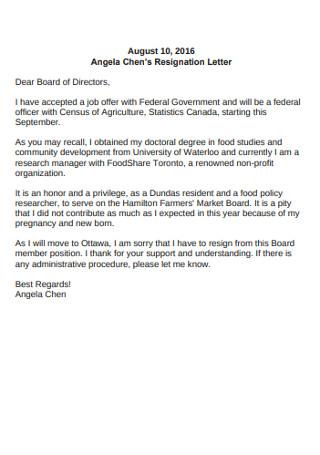 Standard Board Directors Resignation Lertter