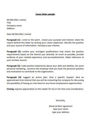 Standard Employee Cover Letter