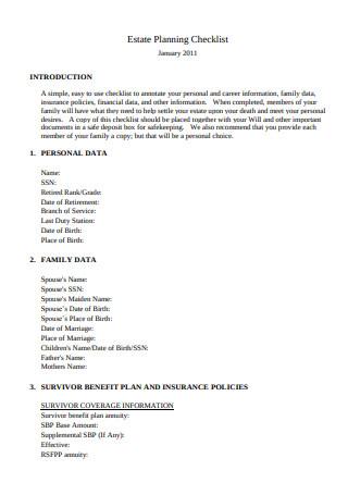 Standard Format of Estate Planning Checklist