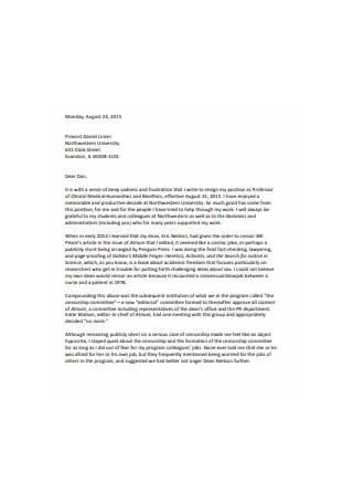 Standard Job Resignation Letter