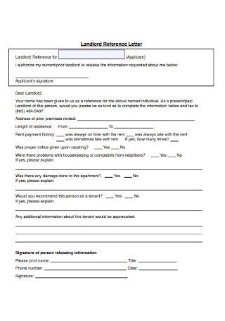 Standard Landlord Reference Letter