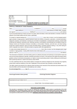 Standard Power of Attorney for Minor Child