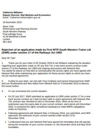 Standard Rental Rejection Letter