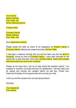 Standard Resignation Letter1