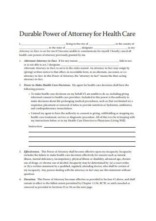 Statutory Durable Power of Attorney