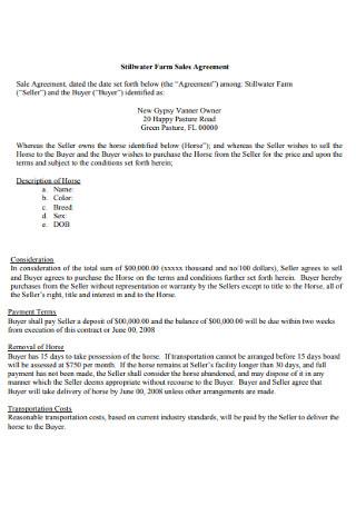Stillwater Farm Sales Agreement