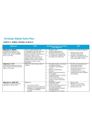 Strategic Digital Sales Plan