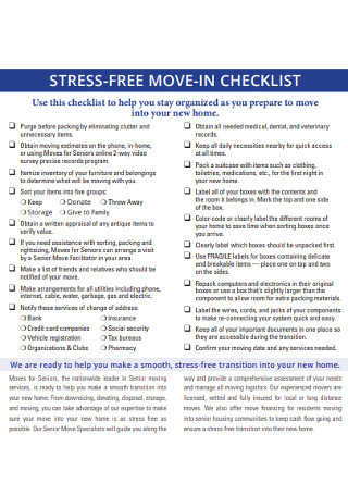 Stress Free Move in Checklist