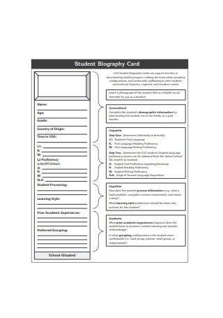 Student Biography Card