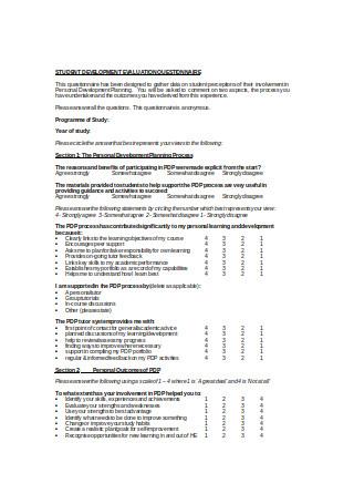 Student Development Evaluation Questionnaire
