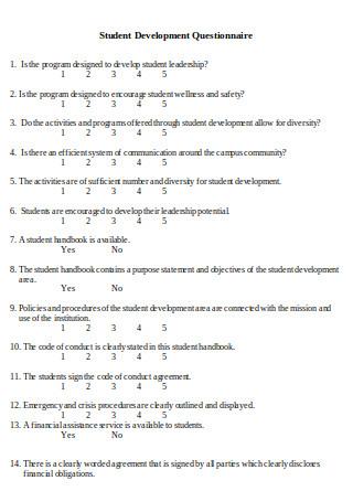 Student Development Questionnaire