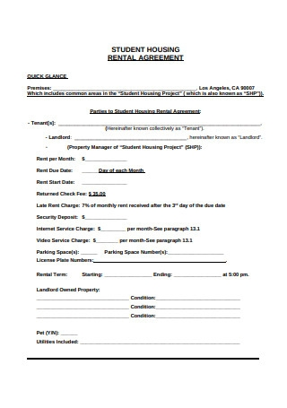 Student Housing Rental Agreement