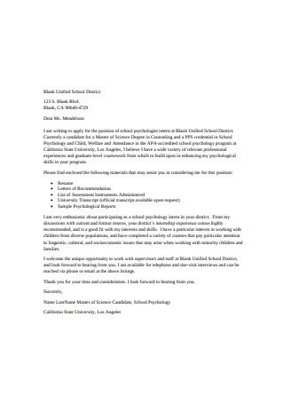 Student Internship Letter of Recommendation