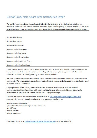 Student Leadership Recommendation Letter
