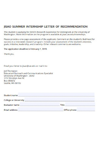 Student Recommendation Letter for Internship