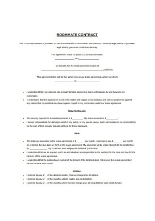 Students Roommate Contract