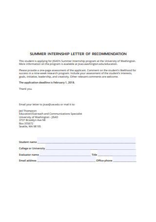 Summer Internship Letter of Recommendation