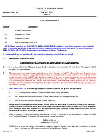 Supplier Evaluation Questionnaire