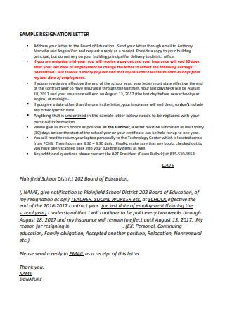 Teacher Resignation Letter to Board