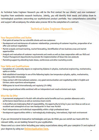 Technical Sales Engineer Research Cover Letter