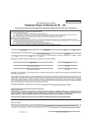 Temporary Power of Attorney for Minor Child