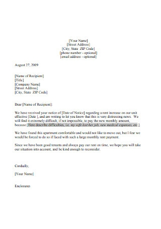 Tenant Increase Letter