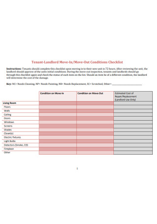 Tenant Move in Checklist