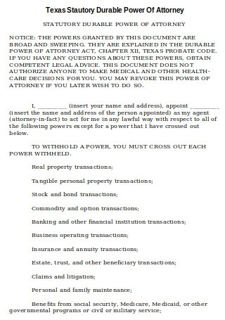 Texas Statutory Durable Power of Attorney