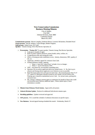 Tree Conservation Commission Business Meeting Minutes