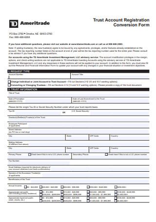 Trust Account Registration Conversion Form