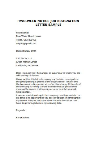 Two Week Notice Job Resignation Letter Sample