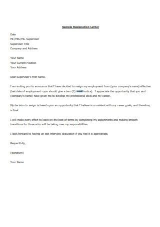 Two Weeks' Notice Resignation Letter