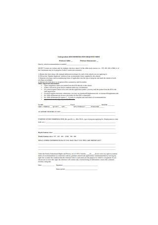 Undergraduate School Recommendation Letter