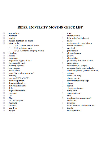 University Move in Checklist