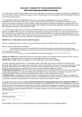 Vacation Home Rental Agreement Sample