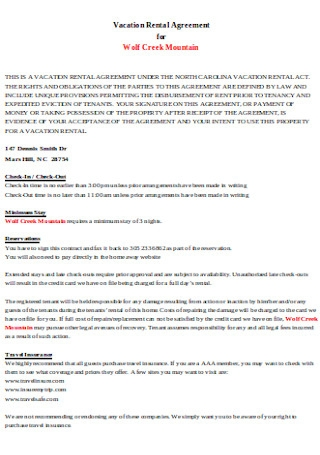 Vacation Rental Agreement Format