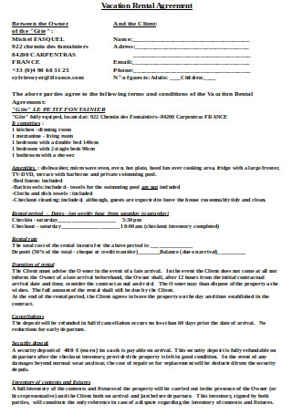 Vacation Rental Agreement Sample