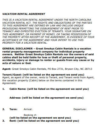Vacation Rental Agreement in PDF
